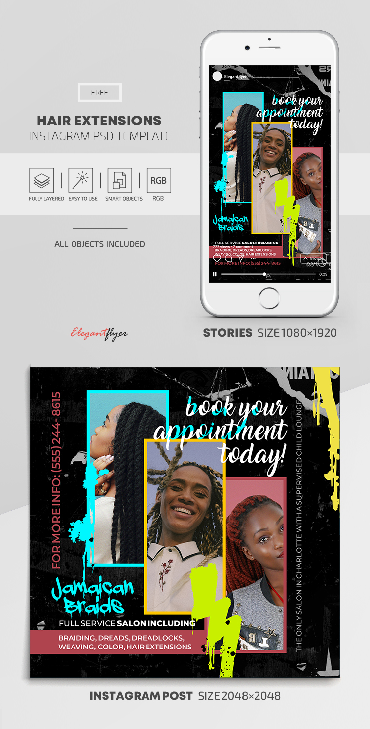 Hair Extensions – Free Instagram Stories Template in PSD + Post Templates