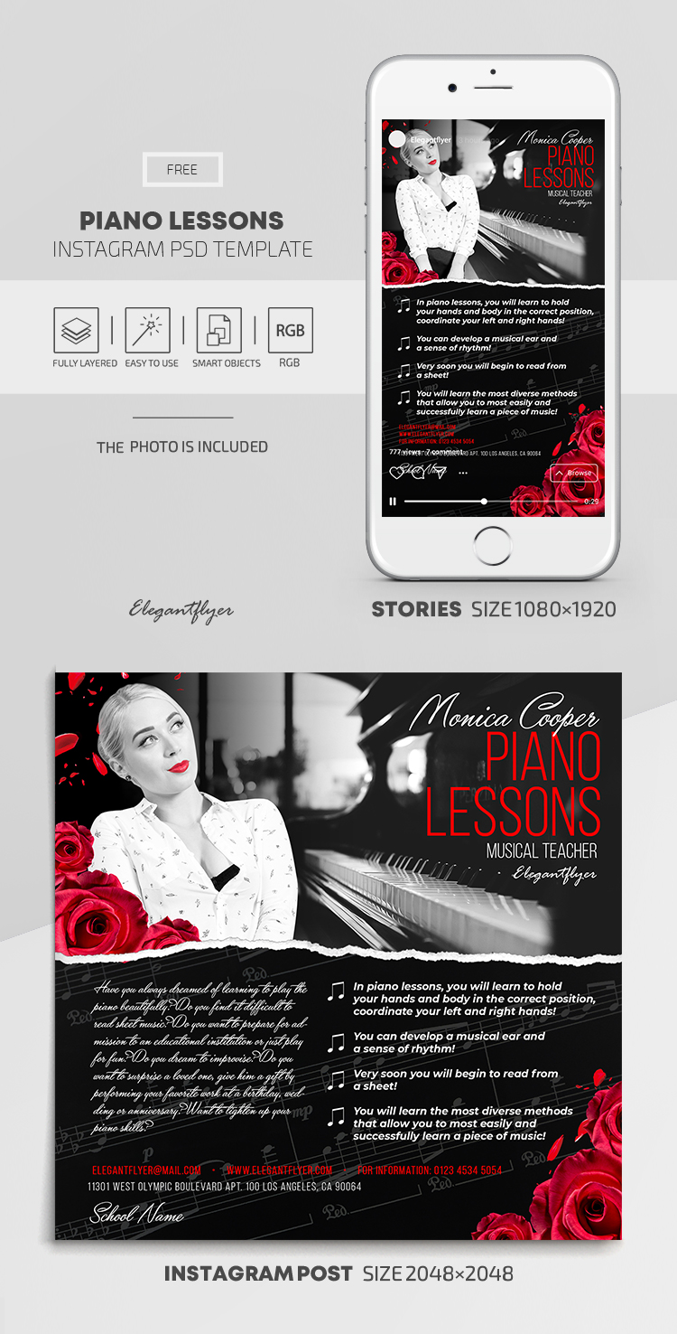 Piano Lessons – Free Instagram Stories Template in PSD + Post Templates