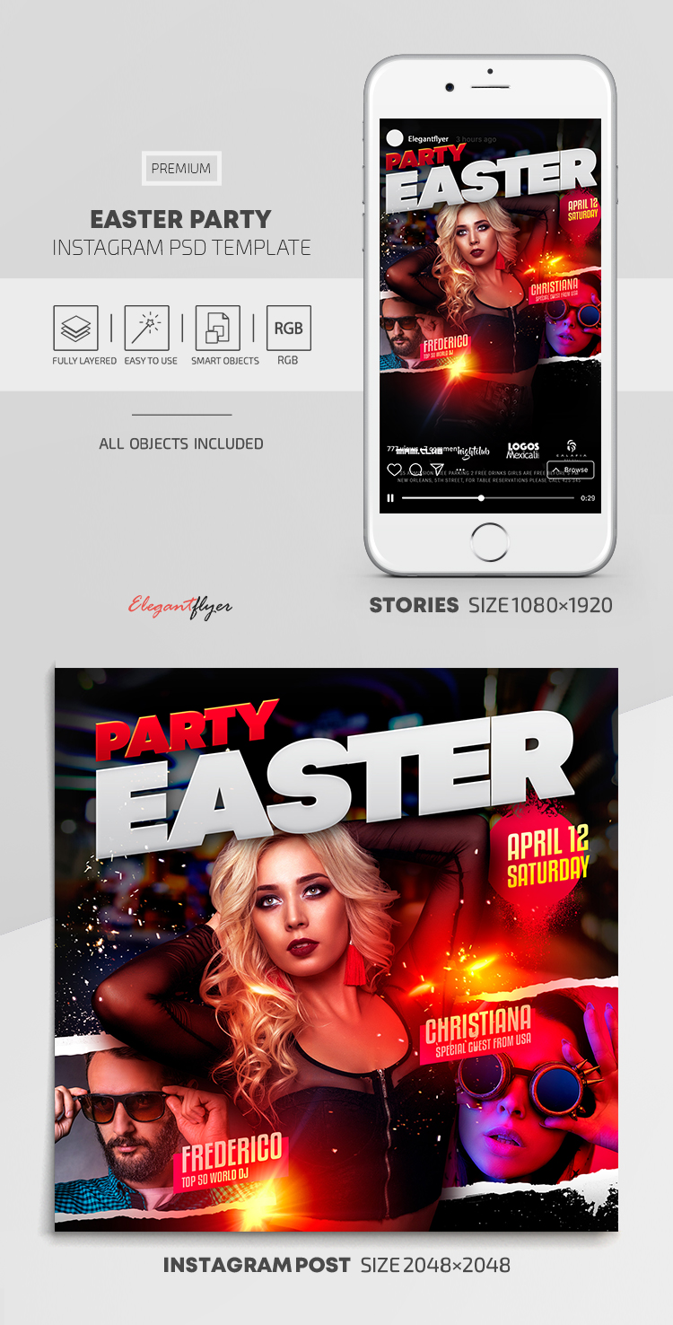 Easter Party – Instagram Stories Template in PSD + Post Templates