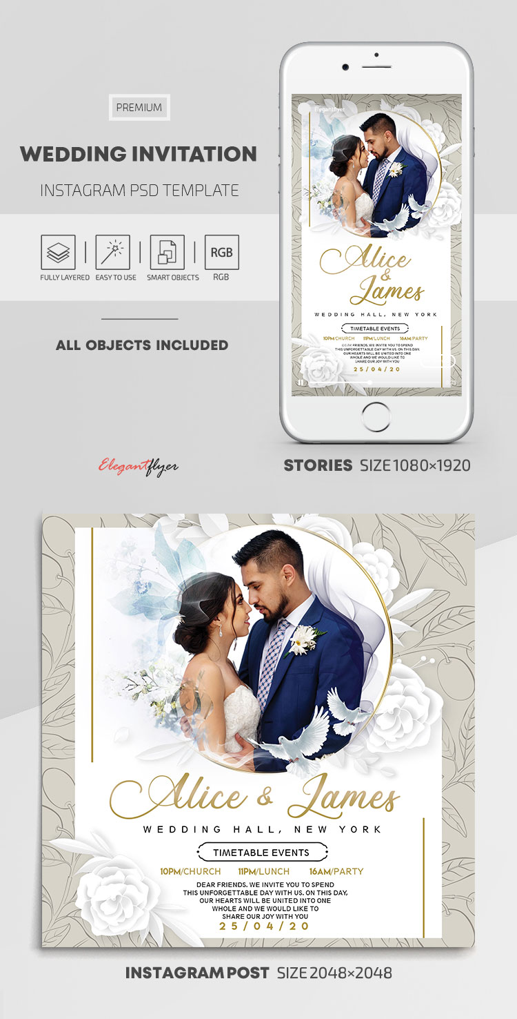 Wedding Invitation  – Instagram Stories Template in PSD + Post Templates
