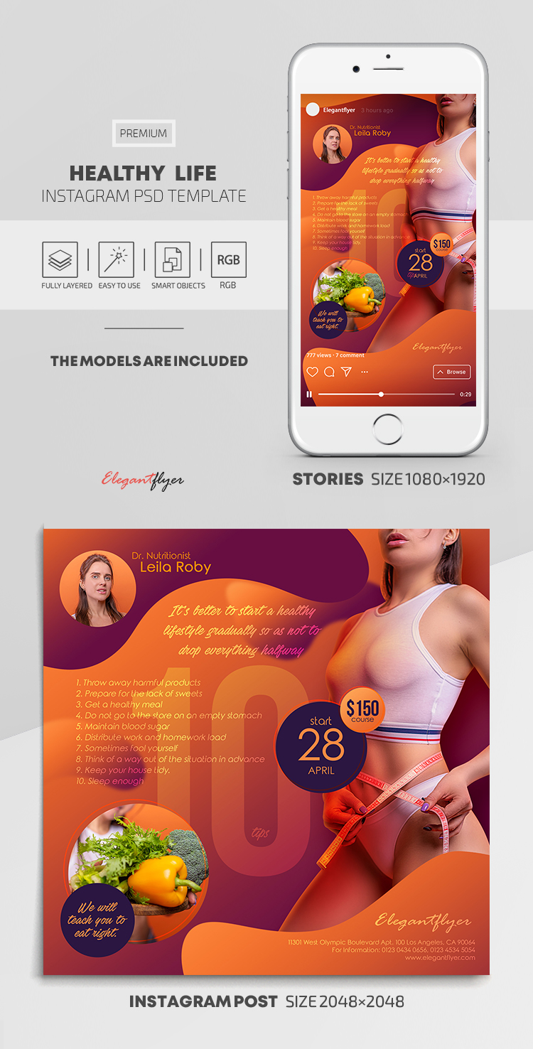 Healthy Life – Instagram Stories Template in PSD + Post Templates