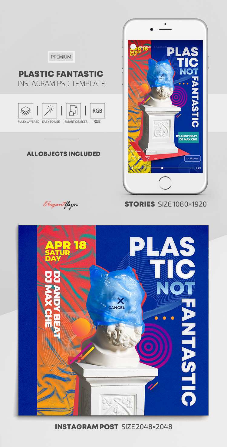 Plastic Fantastic – Instagram Stories Template in PSD + Post Templates