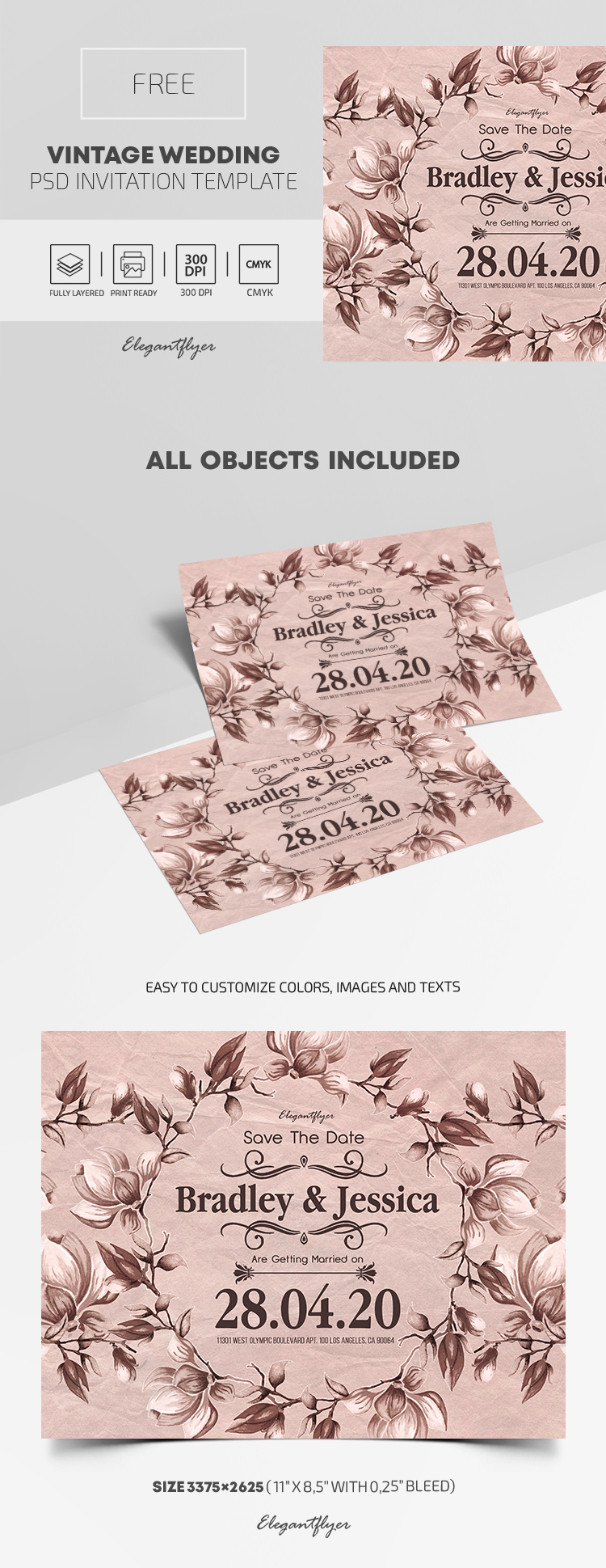 Vintage Wedding – Free PSD Invite Template