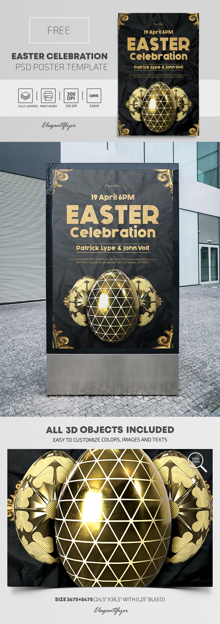 Easter Celebration – FREE PSD Poster Template