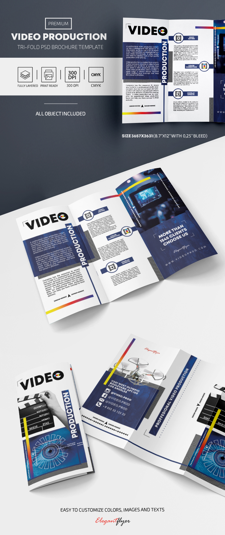 Video Production – Premium PSD Tri-Fold Brochure Template