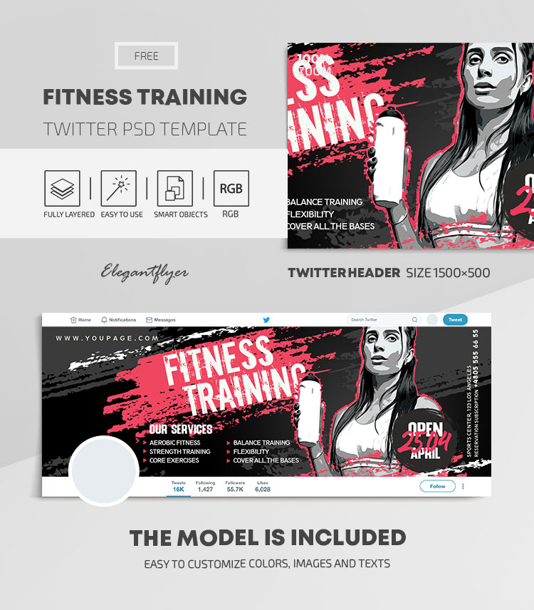 Fitness Training – Free Twitter Header PSD Template