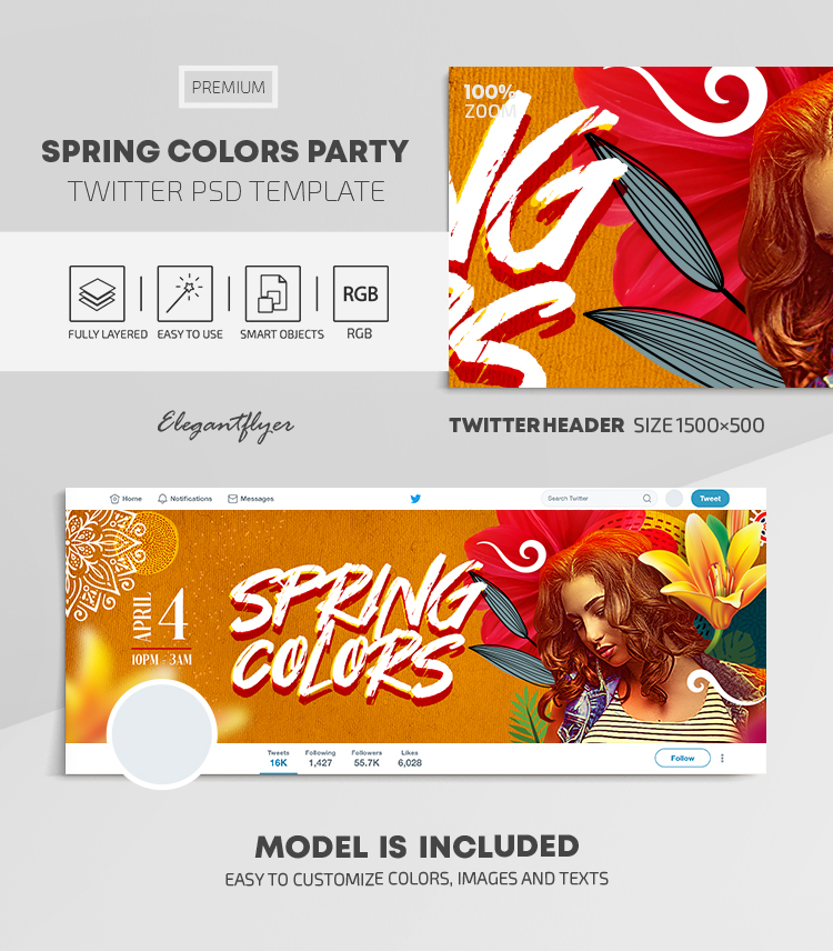 Spring Colors Party – Twitter Header PSD Template