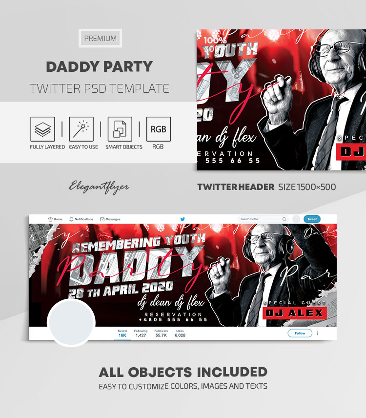 Daddy Party Flyer – Twitter Header PSD Template
