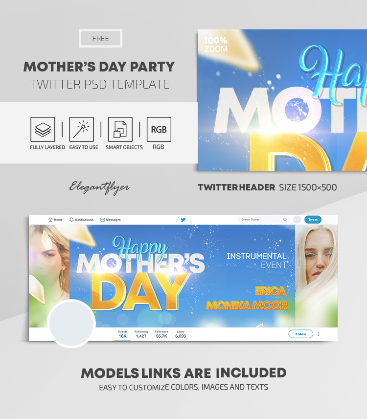 Happy Mother's Day – Free Twitter Header PSD Template