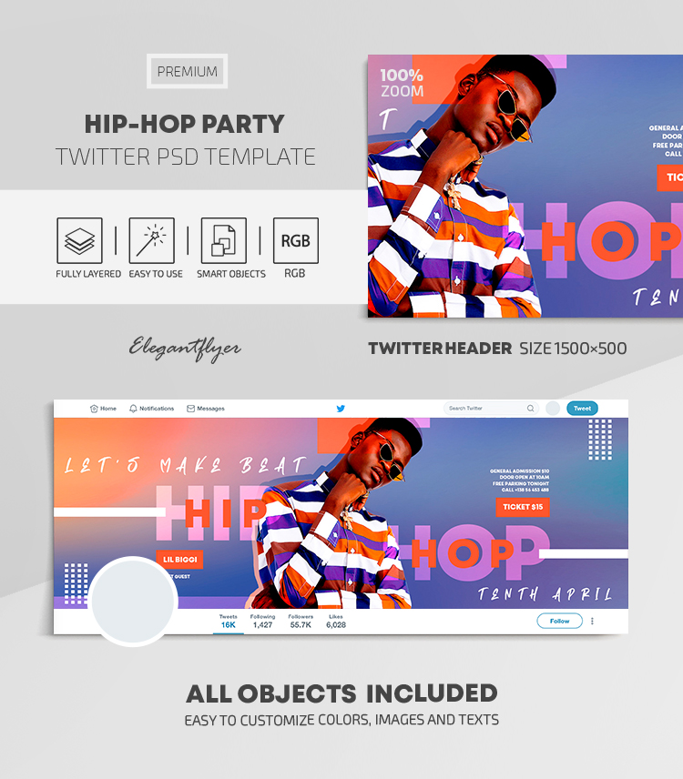 Hip-Hop Party – Twitter Header PSD Template