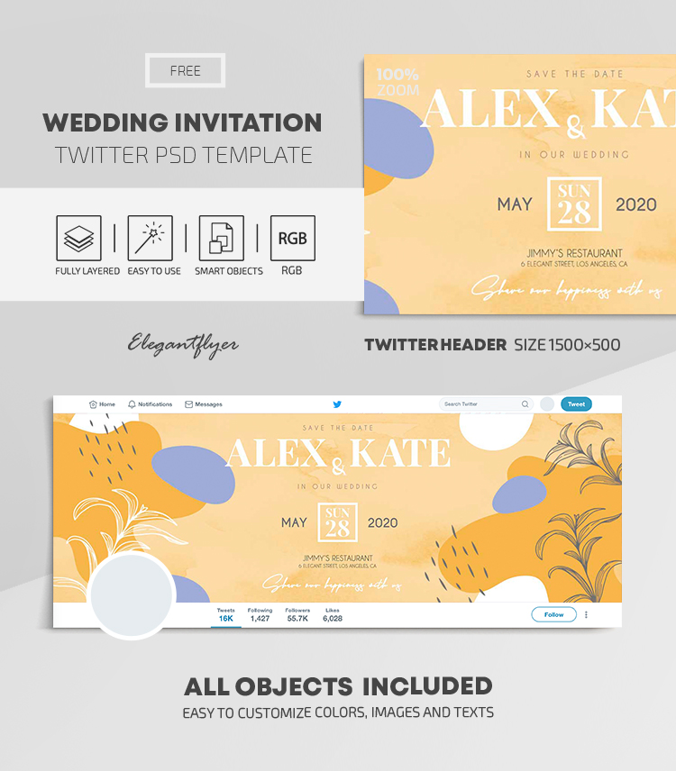 Wedding Invitation – Free Twitter Header PSD Template