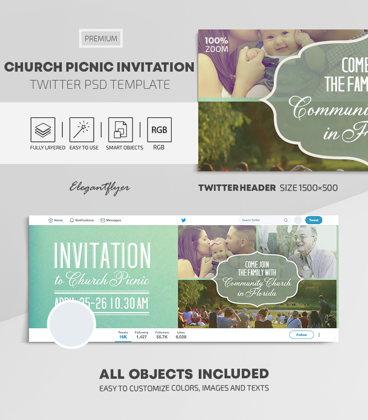 Church Picnic Invitation – Twitter Header PSD Template