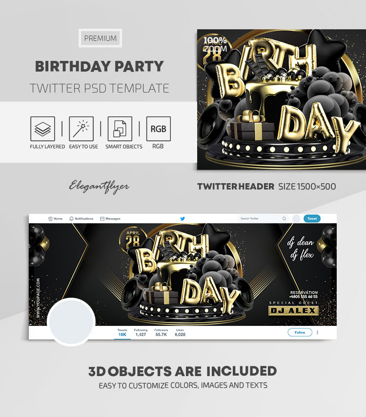 Birthday Party – Twitter Header PSD Template