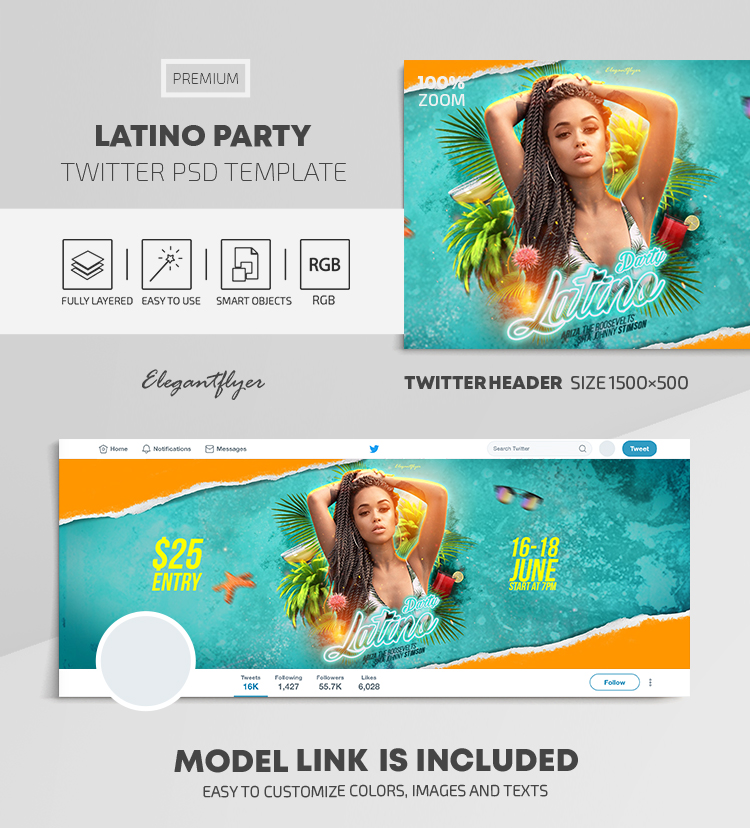 Latino Party – Twitter Header PSD Template