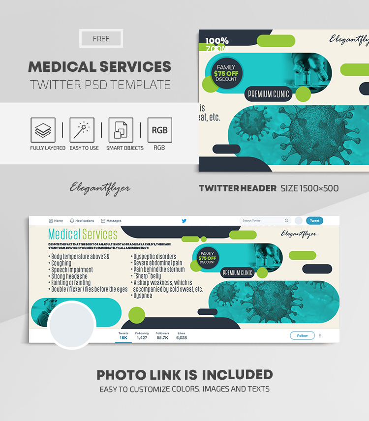 Medical Services – Free Twitter Header PSD Template