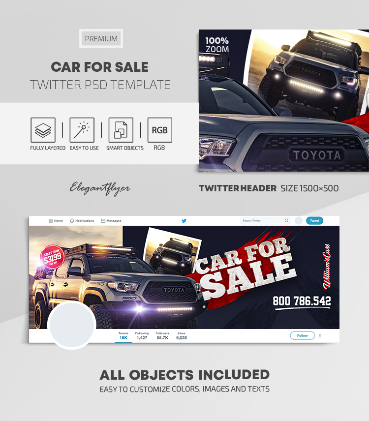 Car For Sale – Twitter Header PSD Template