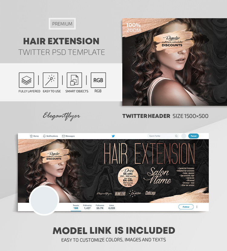 Hair Extension – Twitter Header PSD Template