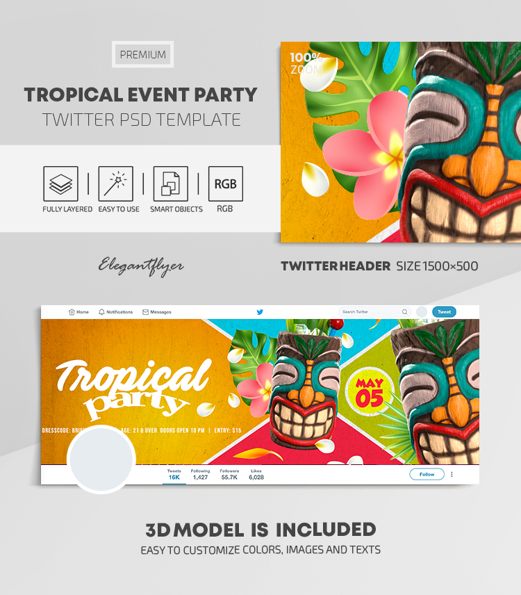 Tropical Event Party – Twitter Header PSD Template