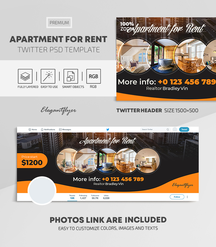 Apartment For Rent – Twitter Header PSD Template