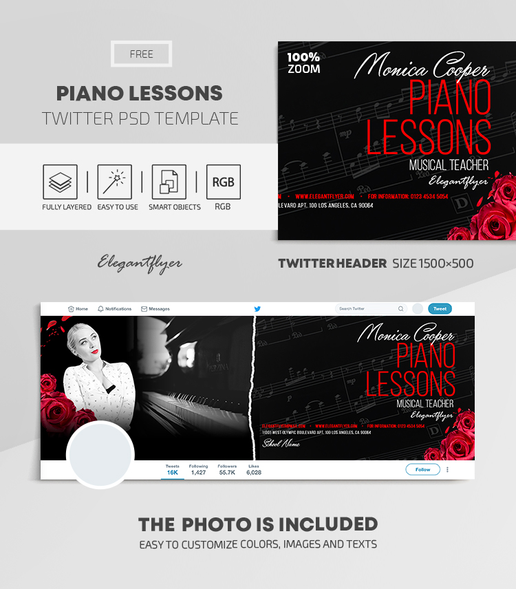 Piano Lessons – Free Twitter Header PSD Template