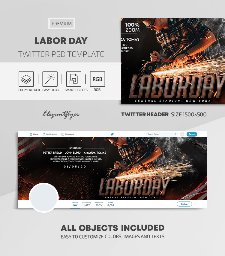 Labor Day – Twitter Header PSD Template
