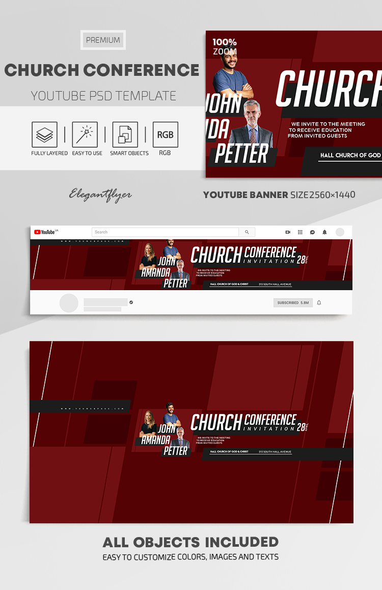 Church Conference – Youtube Channel banner PSD Template