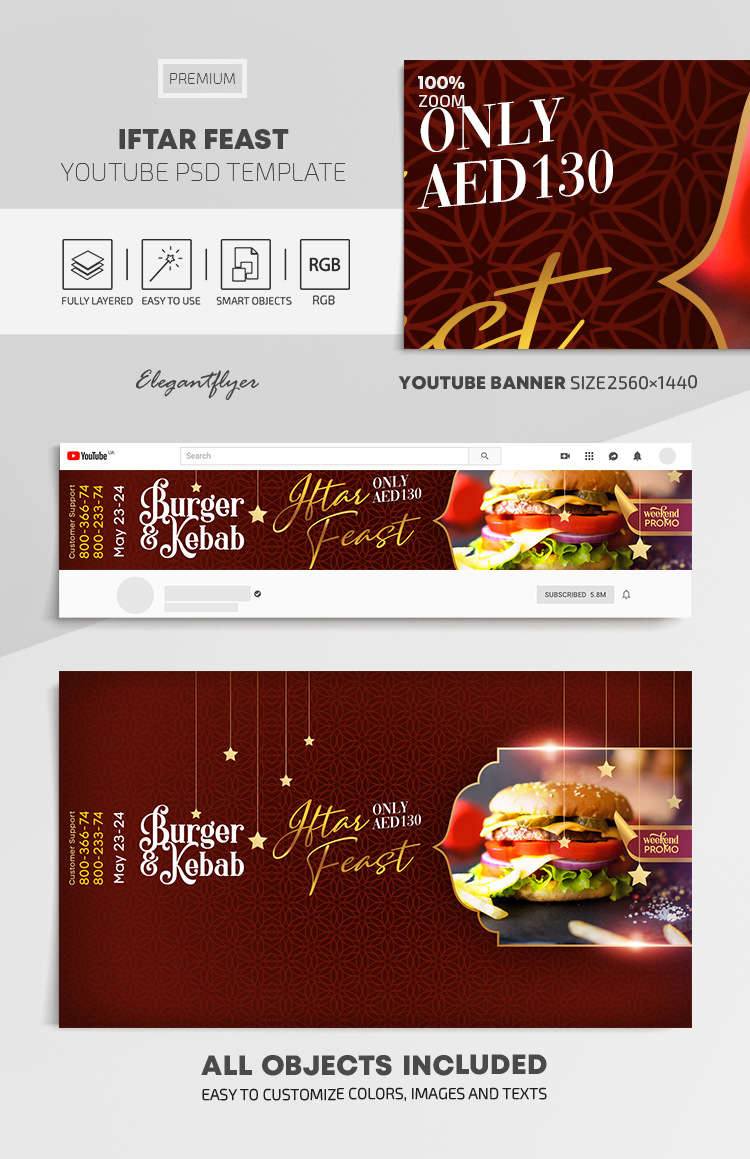 Iftar Feast – Youtube Channel banner PSD Template
