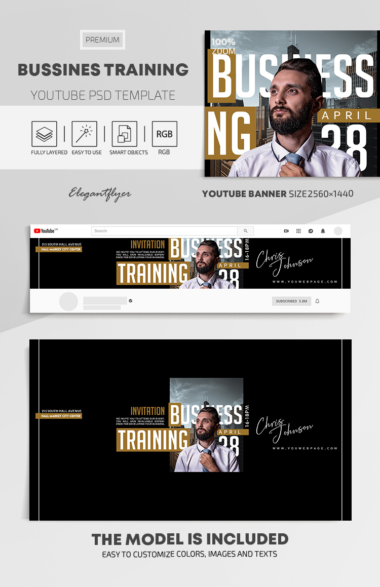 Business Training  – Youtube Channel banner PSD Template