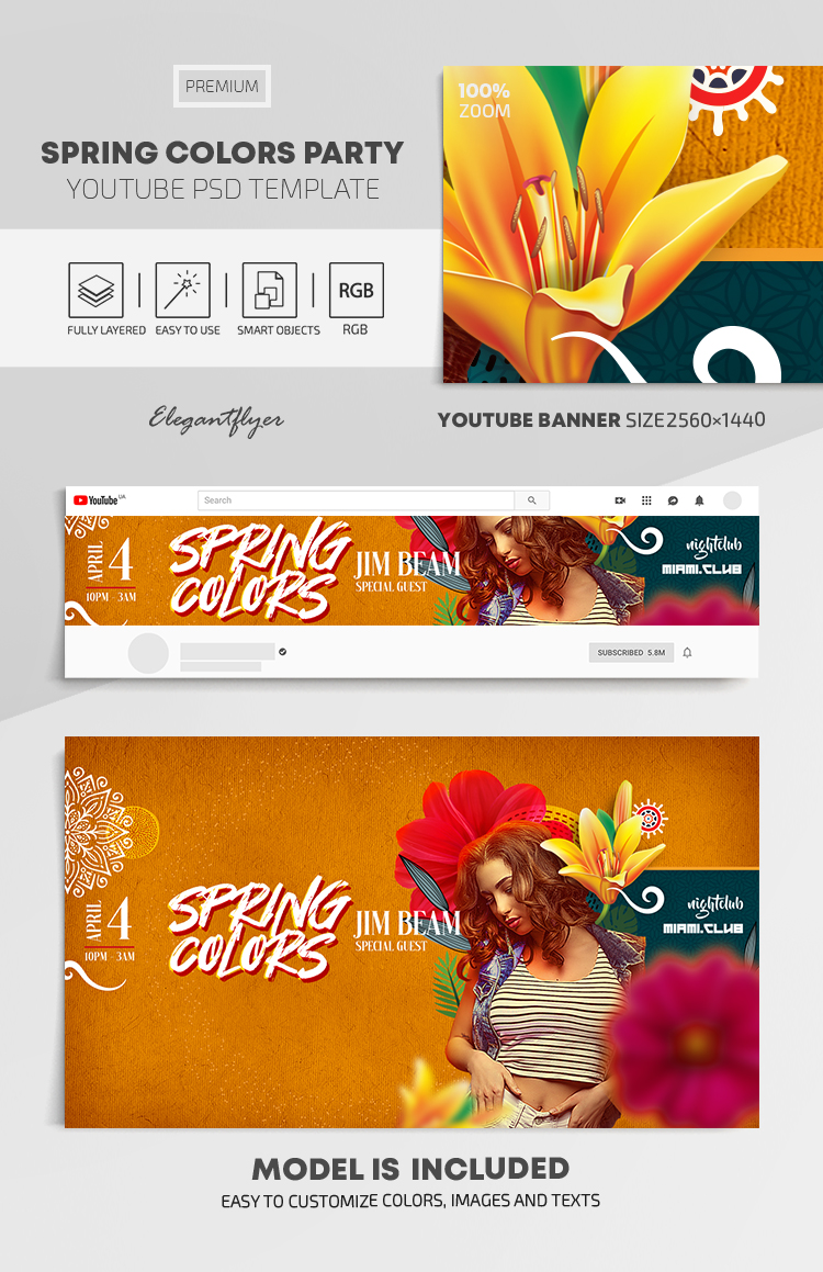 Spring Colors Party – Youtube Channel banner PSD Template