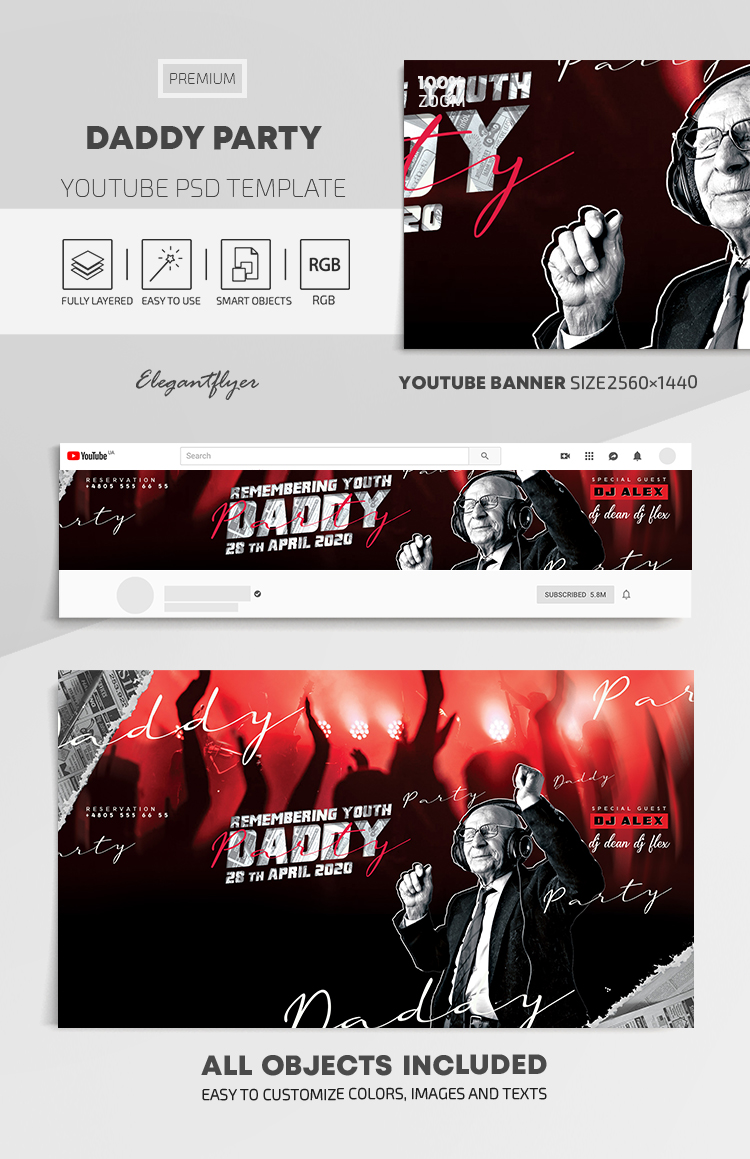 Daddy Party Flyer – Youtube Channel banner PSD Template