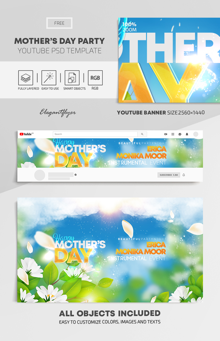 Happy Mother's Day – Free Youtube Channel banner PSD Template