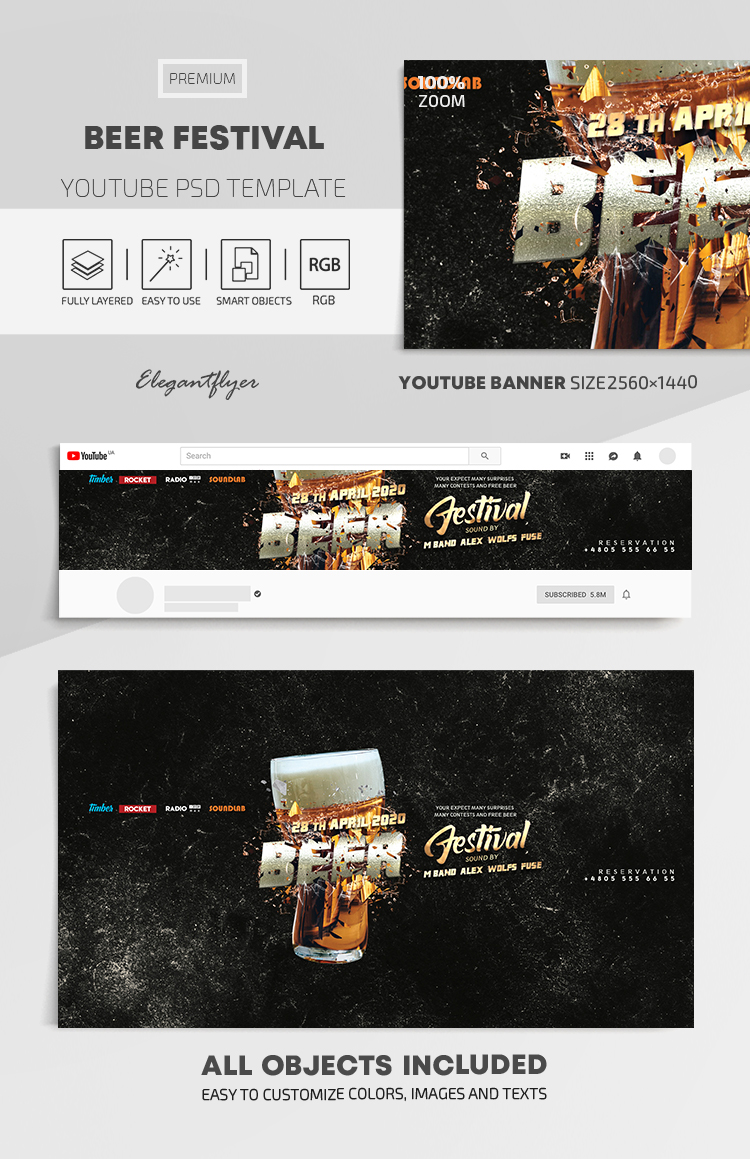 Beer Festival – Youtube Channel banner PSD Template