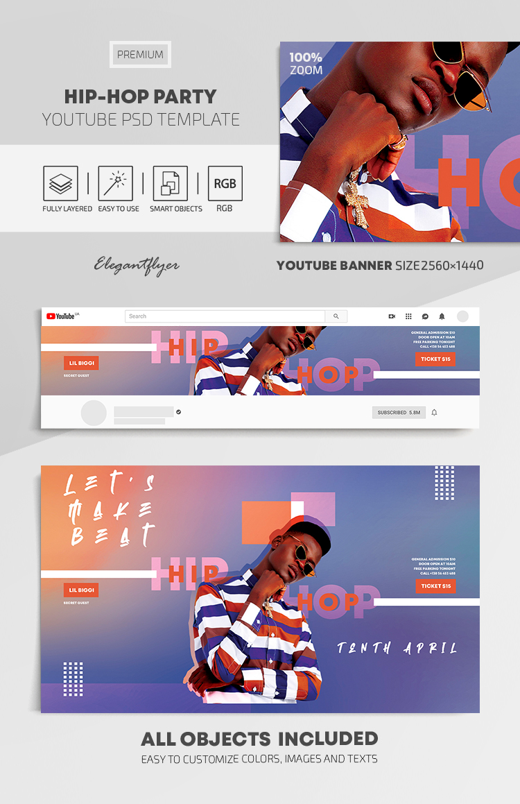 Hip-Hop Party – Youtube Channel banner PSD Template