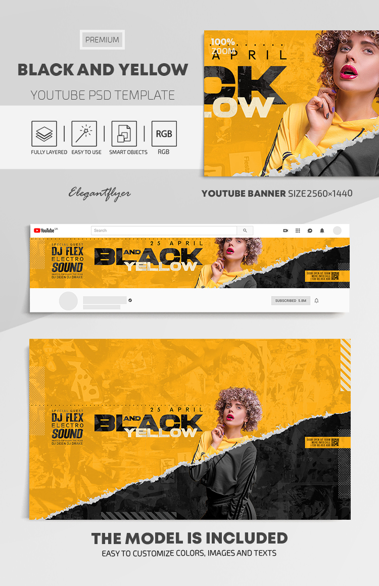 Black and Yellow – Youtube Channel banner PSD Template