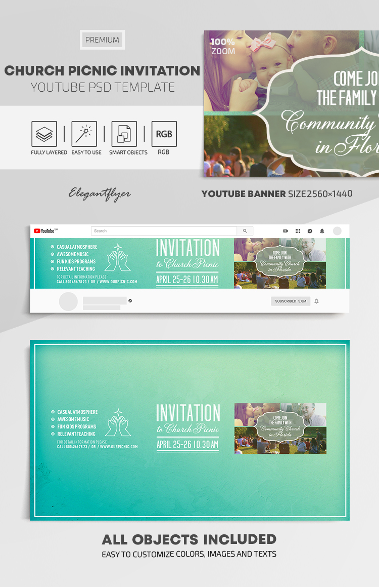 Church Picnic Invitation – Youtube Channel banner PSD Template
