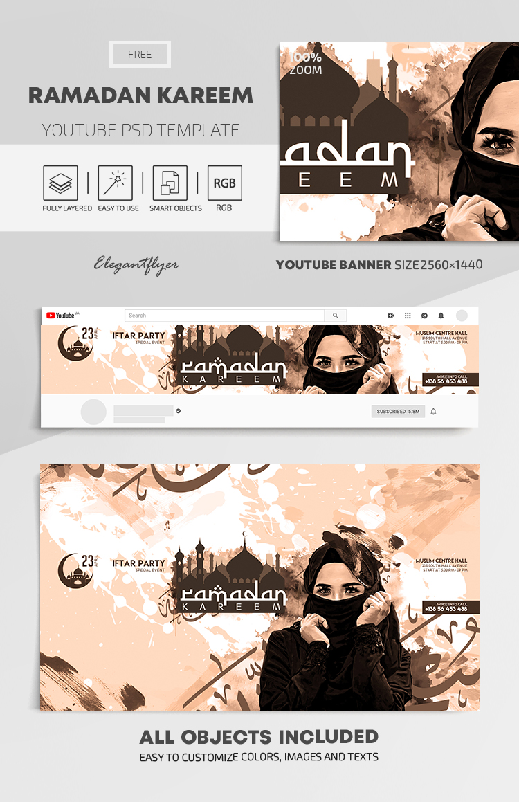 Ramadan Kareem – Free Youtube Channel banner PSD Template