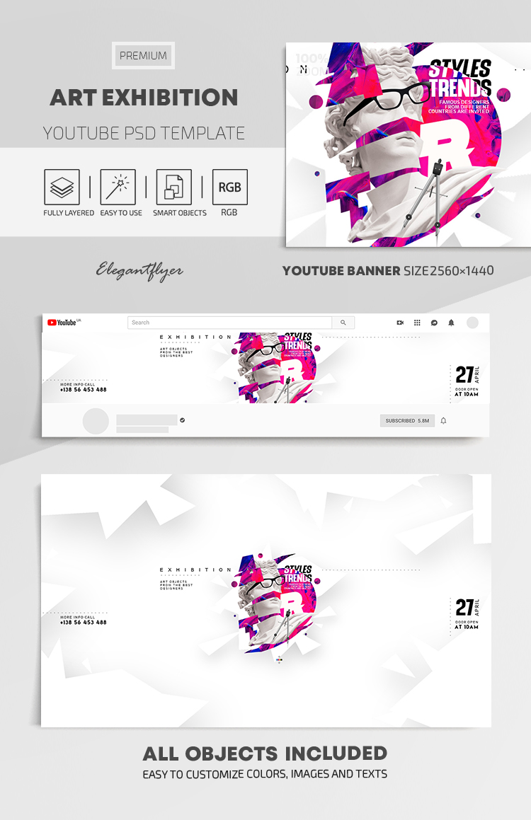 Art Exhibition – Youtube Channel banner PSD Template