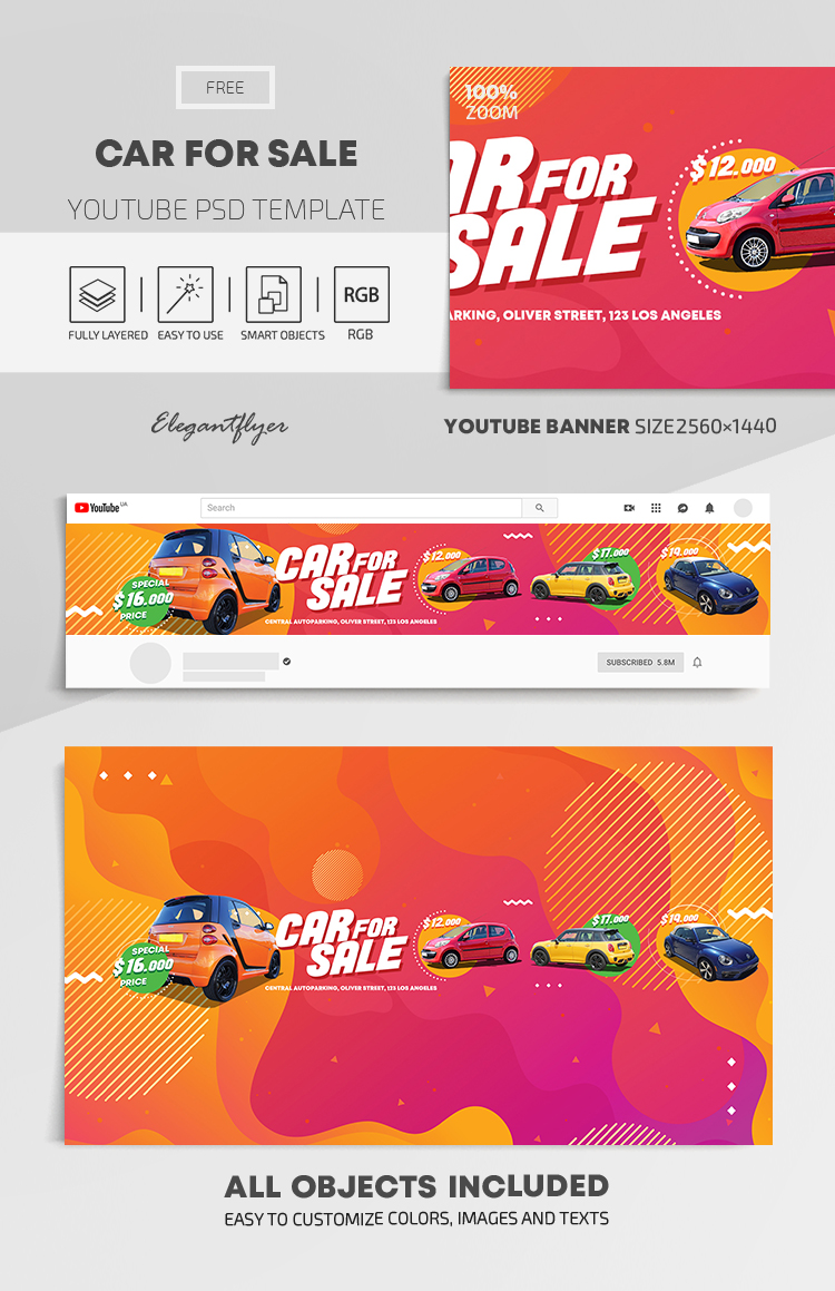 Car For Sale – Free Youtube Channel banner PSD Template
