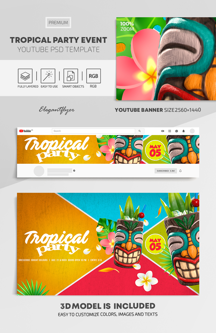 Tropical Party Event – Youtube Channel banner PSD Template