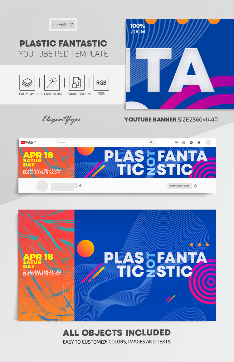 Plastic Fantastic – Youtube Channel banner PSD Template