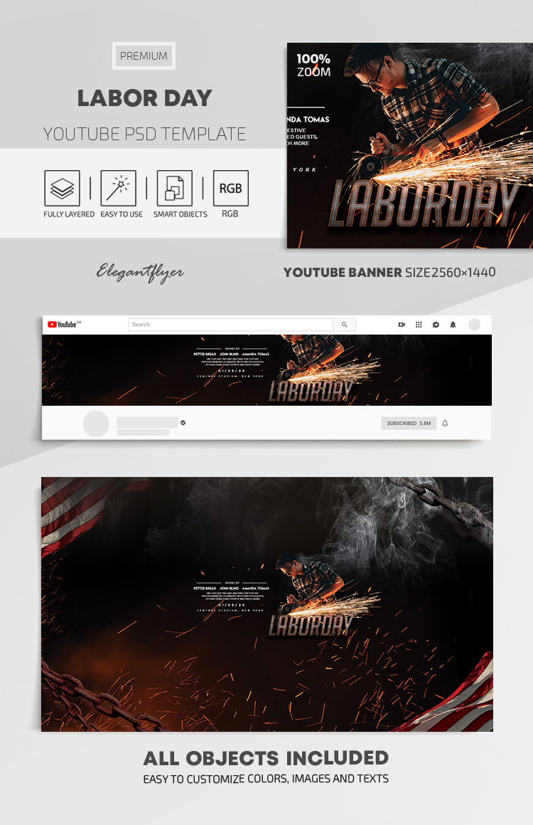 Labor Day – Youtube Channel banner PSD Template