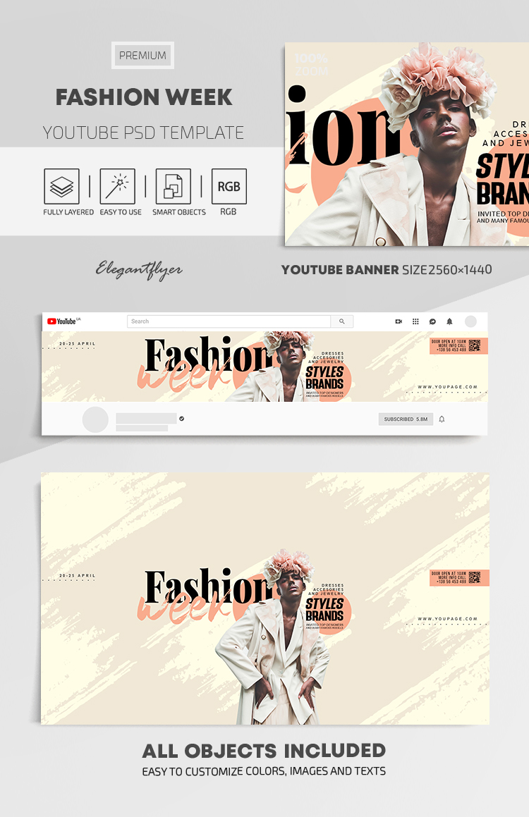Fashion Week – Youtube Channel banner PSD Template