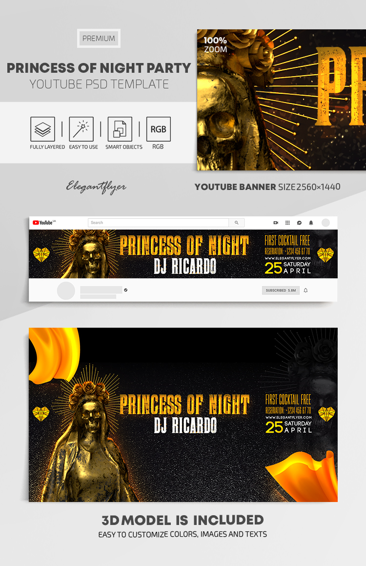 Princess Of The Night – Youtube Channel banner PSD Template