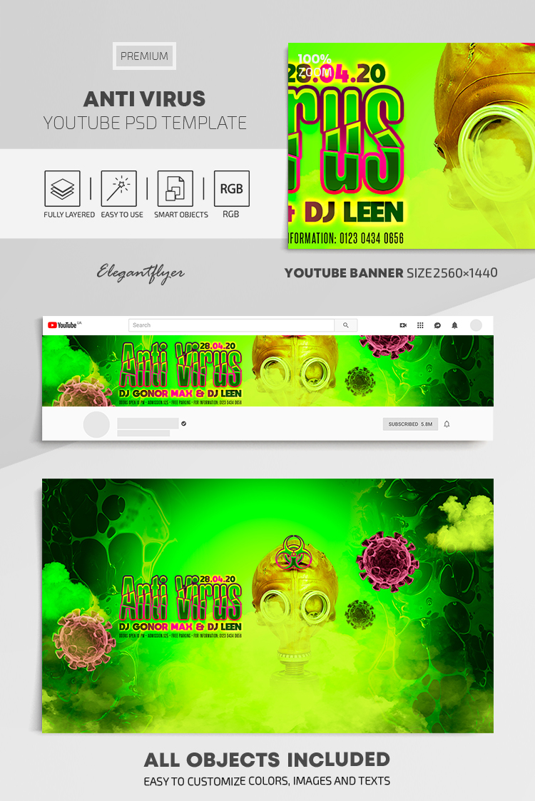Anti Virus – Youtube Channel banner PSD Template
