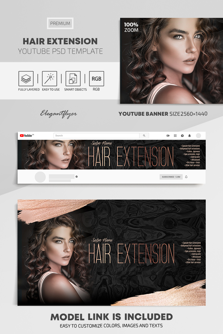 Hair Extension – Youtube Channel banner PSD Template