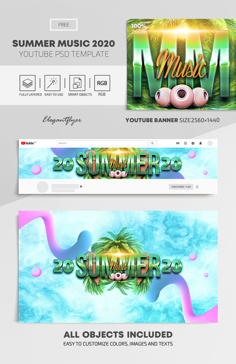 Summer Music 2020 – Free Youtube Channel banner PSD Template