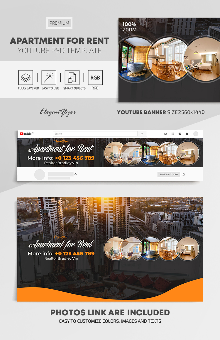 Apartment For Rent – Youtube Channel banner PSD Template