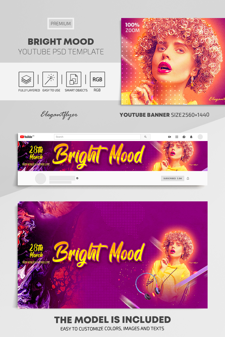 Bright Mood – Youtube Channel banner PSD Template