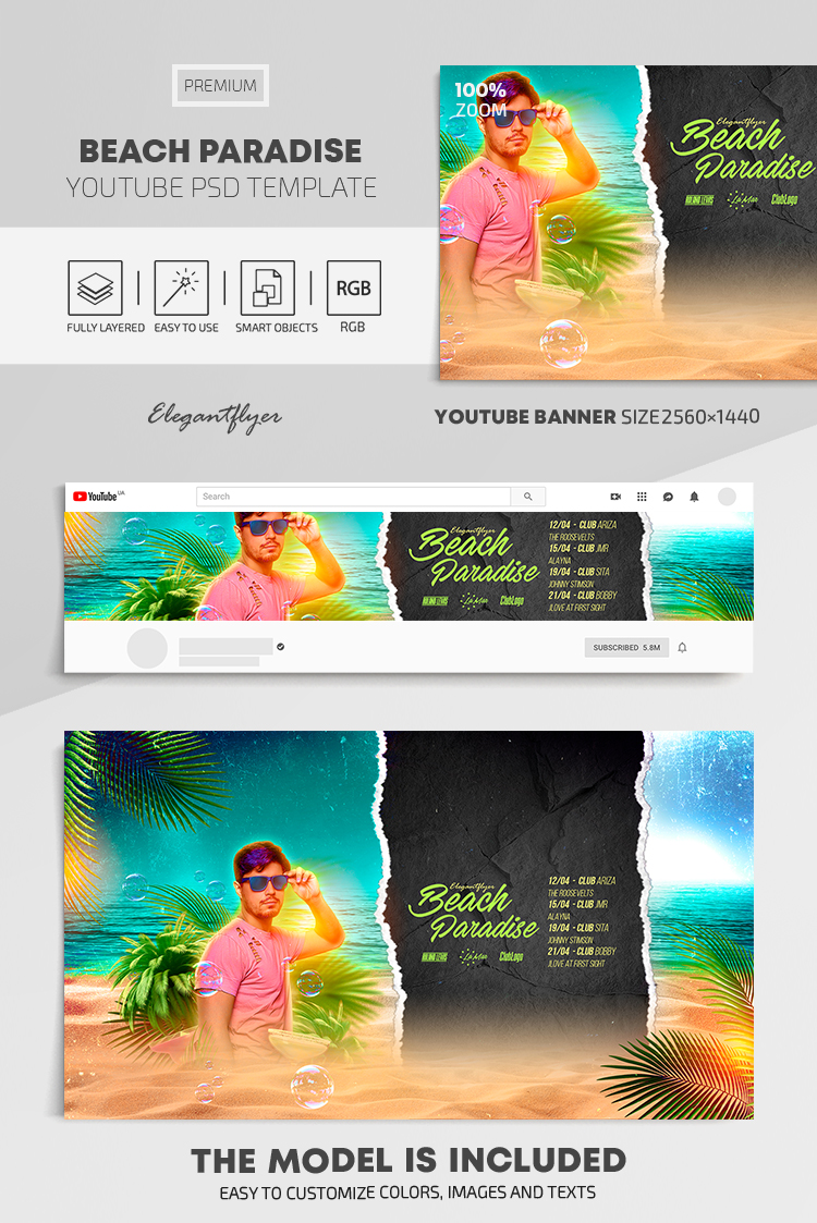 Beach Paradise – Youtube Channel banner PSD Template