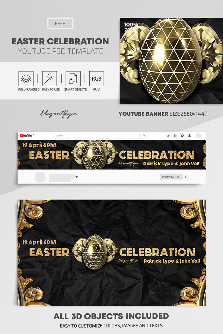 Easter Celebration – Free Youtube Channel banner PSD Template